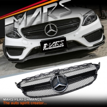 Gloss Black C63-S AMG Style Front Bumper Bar Grille for Mercedes-Benz C-Class W205 Sedan & C205 Coupe