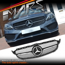 Chrome Black C43 Diamond Star Style Front Bumper Bar Grille for Mercedes-Benz C-Class W205 Sedan & S205 Wagon