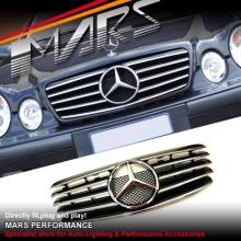 Chrome Black CL5 Style Front bumper Bar GRILLE for Mercedes-Benz CLK W208 C208