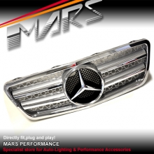 Chrome Silver AMG Style Front Grille for Mercedes-Benz E-Class W210 00-03