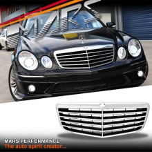 Chrome Black E63 Style Front Bumper Bar Grille for Mercedes-Benz E-Class W211 facelift 07-08