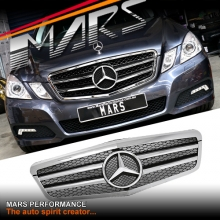 Chrome Black AMG Style Front Grille for Mercedes-Benz E-Class W212 09-13