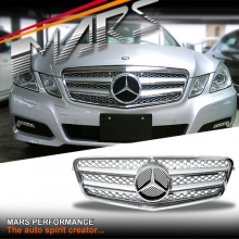 Chrome Silver AMG Style Front Bumper Bar Grille for Mercedes-Benz E-Class W212 09-13