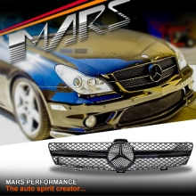 Gloss Black AMG SLS Style Front Grille for Mercedes-Benz CLS-Class W219 05-07 Pre Update