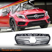 Chrome Black GLA45 AMG Style Front Bumper Bar Grille for Mercedes-Benz GLA-Class X156