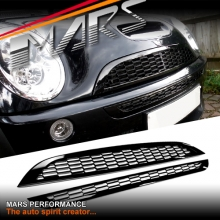 Black JCW Style Gloss Black Front Grill for Mini Cooper & Cooper S 01-06 R50 R52 R53