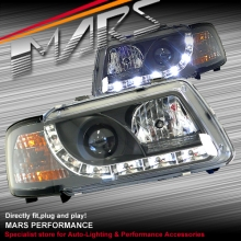 Black Day-Time DRL Projector Head Lights for AUDI A3 96-03 SN