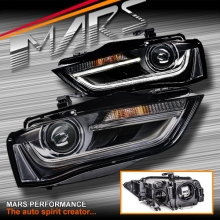 Real DRL Dual Beam Projector Head Lights for AUDI A4 S4 B8 12-15 (Not Compatible With Halogen Model)
