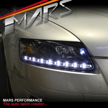 Black Day-Time DRL LED Projector Head Lights for AUDI A6 04-11 C6 4F
