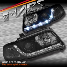 Black DAY-TIME LED DRL Projector Head Lights for AUDI A4 B5 95-98 99-01