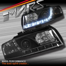 Black DAY-TIME LED DRL Projector Head Lights for AUDI A4 B6 00-05