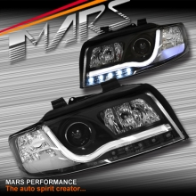 Black DAY-TIME 3D LED DRL Projector Head Lights for AUDI A4 B6 00-05