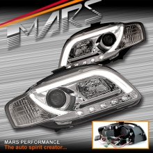Crystal 3D Day-Time LED Stripe DRL Projector Head Lights for AUDI A4 S4 RS4 B7 05-08 SN