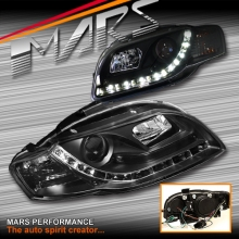 Black Day-Time LED DRL Projector Head Lights for AUDI A4 S4 RS4 B7 05-08 SN
