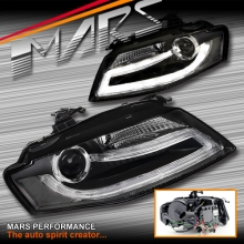Real DRL Dual Beam Projector Head Lights for AUDI A4 S4 B8 09-12 (Not Compatible With Halogen Model)