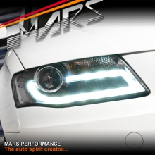 Real DRL Dual Beam Projector Head Lights for AUDI A4 S4 B8 09-12 (Not Compatible with Xenon/HID Model)