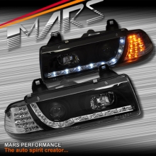 Black DRL LED Day-Time Projector Head Lights for BMW E36 Coupe & Sedan