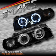 Black CCFL Angel Eyes Projector Head Lights for BMW 7-Series E38 95-98