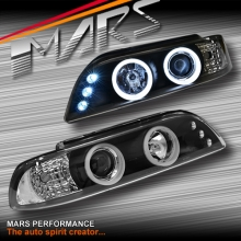 Black 3D Angel-Eyes Projector Head Lights for BMW 5-Series E39 95-03