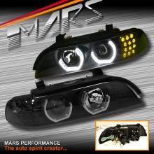 Black High Power 3D Angel-Eyes Projector Head Lights for BMW 5-Series E39 95-03