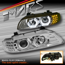 Crystal Clear High Power 3D Angel-Eyes Projector Head Lights for BMW 5-Series E39 95-03