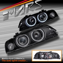 Black High Power LED Angel-Eyes Projector Head Lights for BMW 5-Series E39 95-03