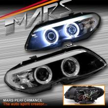 Black CCFL Angel-Eyes Projector Head Lights for BMW X5 E53 04-06 LCI Update, Halogen Model