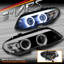 Black CCFL Angel-Eyes Projector Head Lights for BMW X5 E53 04-06 LCI Update, HID/Xenon Model