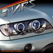 Black CCFL Angel-Eyes DRL Projector Head Lights for BMW X5 E53 00-03 Pre LCI
