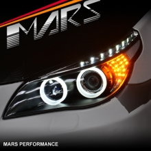Black 3D LED Angel-Eyes Projector Head Lights for BMW 5-Series E60 E61 03-07