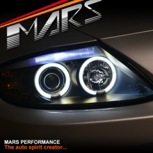 Black CCFL Angel-Eyes Projector Head Lights for BMW Z4 E85 E86 03-08 (Compatible with Factory HID System)