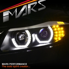 Black High Power 3D Angel-Eyes Projector Head Lights for BMW 3-Series E91 E90 05-08