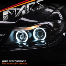 Black CCFL Angel-Eyes Projector Head Lights for BMW 3-Series E91 E90 05-08 SN