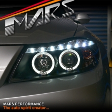 Black LED DRL & Angel-Eyes Projector Head Lights for BMW 3-Series E91 E90 05-08