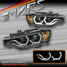 Black LCI Style Real LED DRL Projector Head Lights for BMW 3 Series F30 F31 12-15