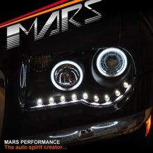 Black DAY-TIME DRL Angel-Eyes Projector Head Lights for CHRYSLER 300C 05-12