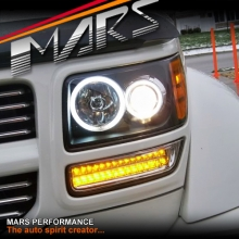 Black CCFL Angel-Eyes Projector Head Lights with LED Indicators for Dodge Nitro