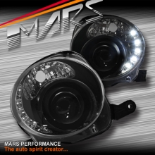 Black DRL Day-Time Dual Beam Projector Head Lights for Fiat 500 500C 08-13