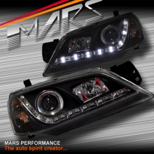 Black DRL LED Head Lights for Ford Falcon Fairmont BA BF Sedan Ute