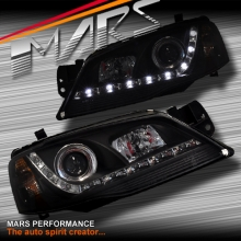 Black DRL LED Head Lights for Ford Falcon Fairmont BF Series 2 Sedan Ute