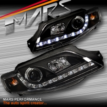 Black DRL LED Head Lights for Ford FPV Series 1 Falcon FG Sedan & Ute