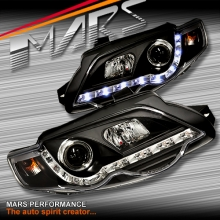 Black DRL LED Head Lights for Ford FPV Series 1 Falcon FG XR6 & XR8 Sedan & Ute