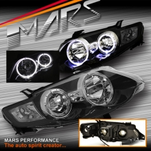 Black Angel Eyes Head Lights for Ford Falcon FG Series 1 XR6 & XR8 Sedan & Ute
