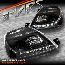 Black DRL LED Projector Head Lights for Ford Fiesta 03-08 WP WQ