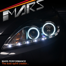 Black Day-Time DRL LED & Angel Eyes Projector Head Lights for Ford Focus 09-11 LV