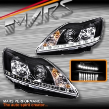 Black Day-Time DRL LED Projector Head Lights for Ford Focus 09-11 LV