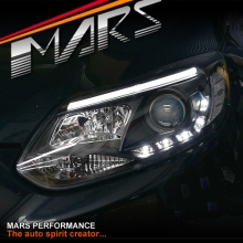 Black 3D LED DRL Day-Time Projector Head Lights for Ford Focus LW 12-15