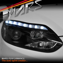Black LED DRL Day-Time Projector Head Lights for Ford Focus LW 12-15