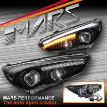 Black 3D LED DRL Day-Time Projector Head Lights with LED Indicators for Ford Focus LZ 15-17