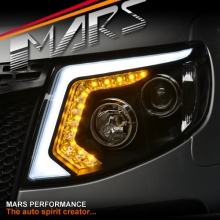 Black DRL LED Projector Head Lights with LED Indicators for Ford Ranger PX T6 11-15